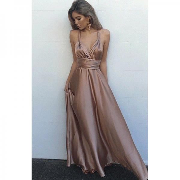 Prom Dresses, Elastic Satin Prom Dresses, Sexy V-Neck Prom Dress, Long Prom Dresses, Floor Length Prom Dress, Evening Gowns, Evening Dress, Pageant Dress, Wedding Party Dresses, 2017 Prom Dresses, Custom Made, Prom Dress 2017