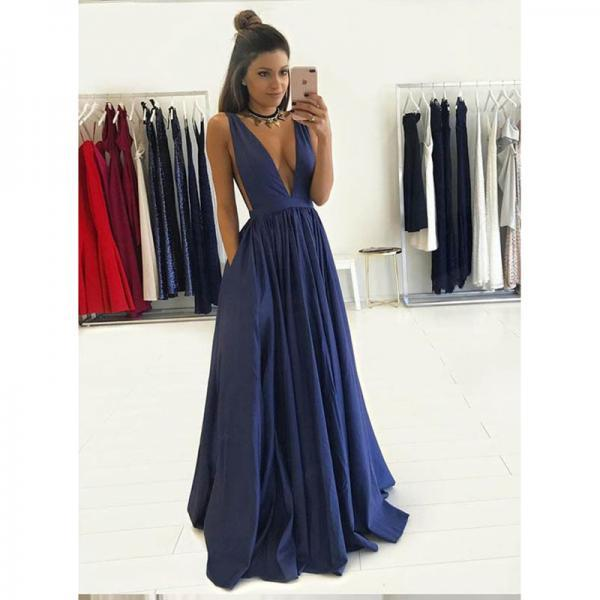 Prom Dresses, Navy Blue Prom Dresses, Sexy Deep V-Neck Prom Dress, Long Prom Dresses, Elastic Satin Prom Dress, Evening Gowns, Evening Dress, Pageant Dress, Wedding Party Dresses, 2017 Prom Dresses, Custom Made, Prom Dress 2017 New